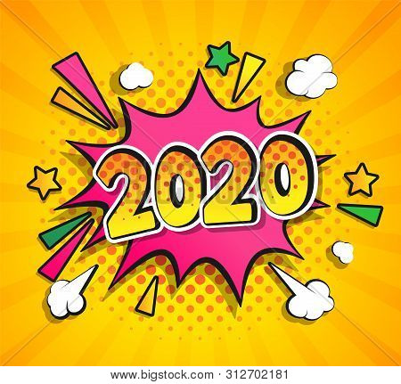 2020 New Year Comic Boom Speech Buble In Retro Pop Art Style On Sunburst Halftone Background. Vector