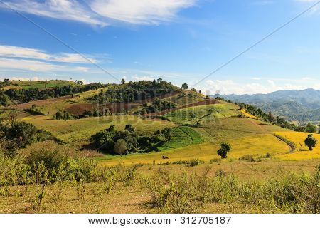 The Breathtaking View Of The Colourful Rolllings Hills Of The Kalaw Highlands As Seen When Trekking