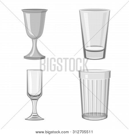 Isolated Object Of Capacity And Glassware Symbol. Collection Of Capacity And Restaurant Vector Icon