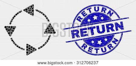 Dot Ccw Circulation Arrows Mosaic Pictogram And Return Seal Stamp. Blue Vector Round Distress Seal S