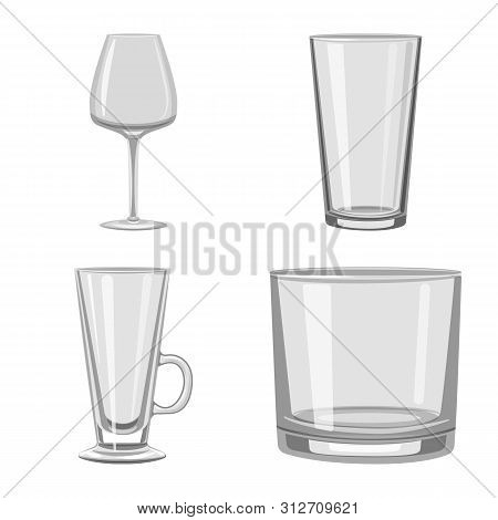 Vector Illustration Of Capacity And Glassware Symbol. Collection Of Capacity And Restaurant Vector I