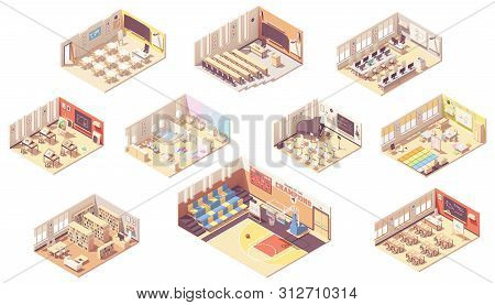 Vector Isometric School Or College Building Cross-section. Classrooms, Basketball Gym, Lecture Hall,