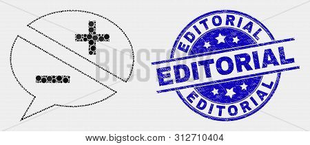 Dotted Discussion Messages Mosaic Pictogram And Editorial Stamp. Blue Vector Rounded Scratched Seal