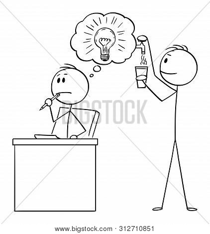 Vector Cartoon Stick Figure Drawing Conceptual Illustration Of Creative Man Or Businessman Thinking