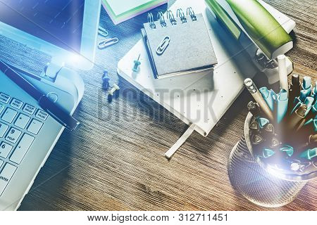 Business Concept With Office Desk Top. Online Business, Banking, Consulting, Management