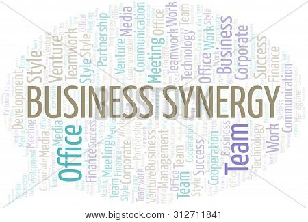 Business Synergy word cloud. Collage made with text only. poster
