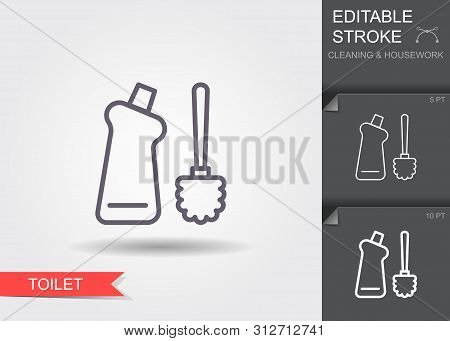 Toilet Brush And Bottle With Cleaner. Line Icon With Editable Stroke With Shadow