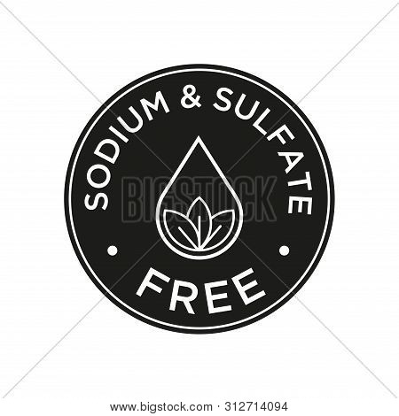 Sodium And Sulfate Free Icon For Labels Of Shampoo, Mask, Conditioner And Other Hair Products. Black