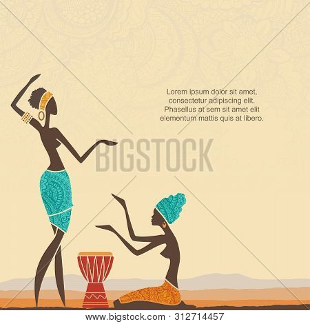 Ethnic Background With African Women And Stylized African Landscape