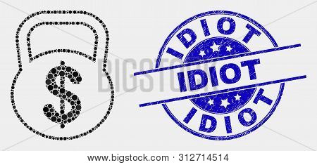 Pixelated Dollar Weight Mosaic Pictogram And Idiot Seal. Blue Vector Rounded Textured Seal Stamp Wit