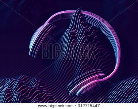 3D headphones with sound waves on dark background. Abstract visualization of digital sound and cyber space. Concept of electronic music listening. Digital audio equipment. EPS 10 vector illustration.