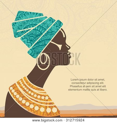 Vector Portrait Beautiful African Woman In Traditional Turban