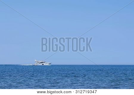 Luxury Private Yacht Racing Deep Water At Sea In Vacation, Side View. Luxury Ship Journey. Travel Ho