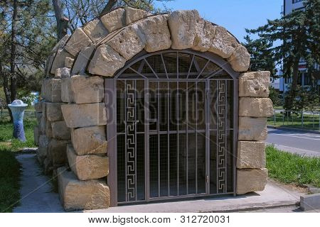 Historical Heritage, Restored Object. Ancient Greek Monument Crypt Geroon In Russia, Anapa.