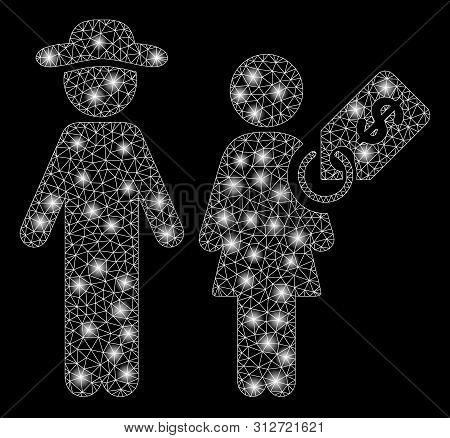 Glowing Mesh Marriage Of Convenience With Glare Effect. Abstract Illuminated Model Of Marriage Of Co