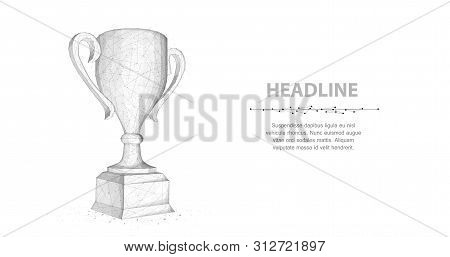 Trophy Cup. Abstract Vector 3d Trophy Isolated On White Background.