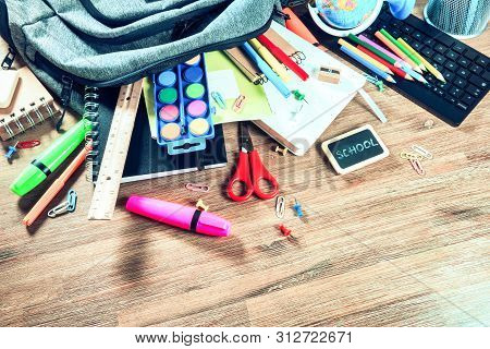 Backpack With School Supplies. Back To School Concept