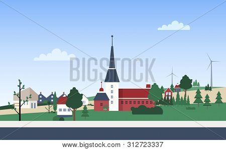 Horizontal Landscape With Town Neighborhood With Private Houses Or Residential Buildings, Tower, Par