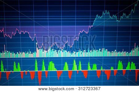 Graph Of Cryptocurrency Market. Finance Business Data Concept. Stock Market Graph On The Screen. Bac