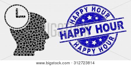 Dot Head Clock Mosaic Icon And Happy Hour Stamp. Blue Vector Rounded Textured Seal Stamp With Happy