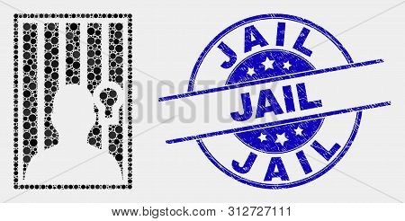 Pixel Jailed Person Mosaic Icon And Jail Seal Stamp. Blue Vector Rounded Grunge Seal With Jail Messa