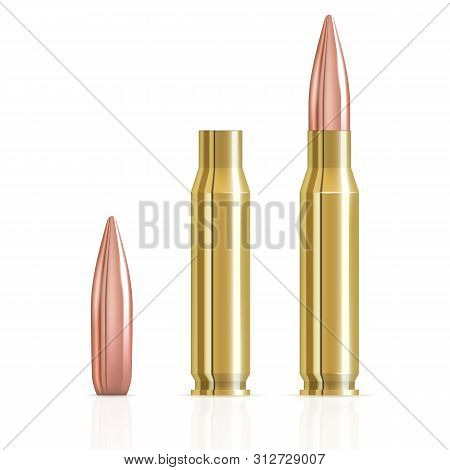Realistic Ammunition Cartridge Vector Illustration. Ammunition Bullets On White Background. Bullets