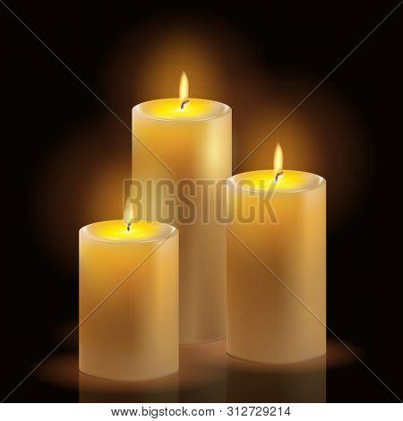Burning Wax Candles Realistic Set. Aromatic Decorative Round Cylindrical Candle Sticks With Burning