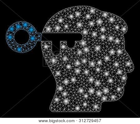 Glowing Mesh Mind Key With Lightspot Effect. Abstract Illuminated Model Of Mind Key Icon. Shiny Wire