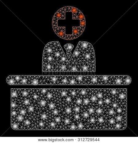 Glossy Mesh Medical Bureaucrat With Glitter Effect. Abstract Illuminated Model Of Medical Bureaucrat
