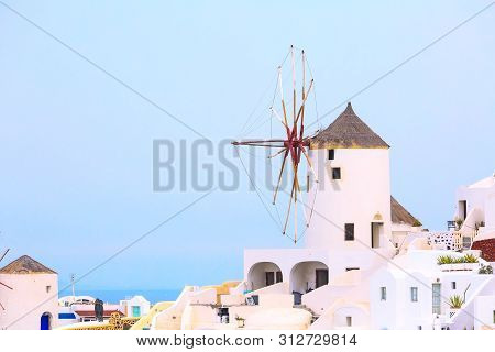 Santorini Island, Greece, Oia Village Windmill Close-up And White Houses