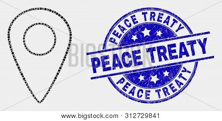 Dotted Map Pointer Mosaic Pictogram And Peace Treaty Stamp. Blue Vector Round Textured Stamp With Pe