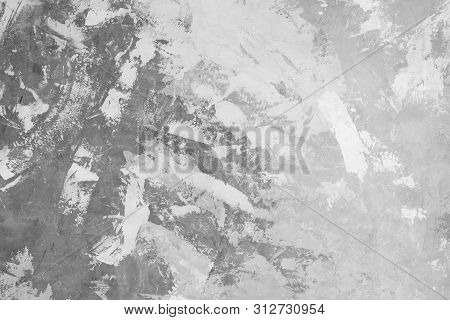 Loft-style Plaster Walls, Gray, White, Empty Space Used As Wallpaper. Popular In Home Design Or Inte