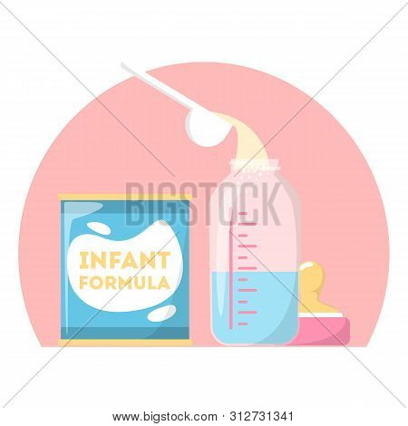 Infant Formula, Baby Powder. Container With Food