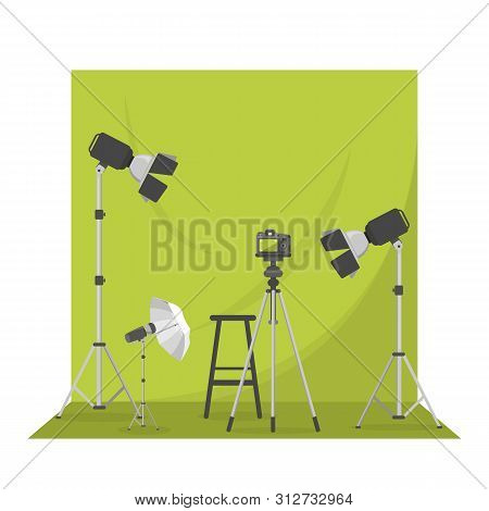 Empty Photo Studio With Green Background. Photography
