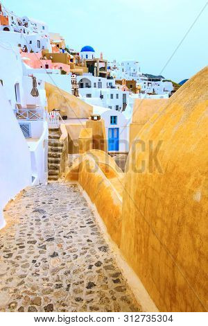 Santorini Island, Greece, Oia Village Street View And Colorful Houses, No People