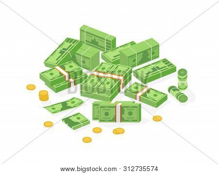 Collection Of Isometric Cash Money Or Currency. Set Of Dollar Bills Or Banknotes In Packs, Rolls And