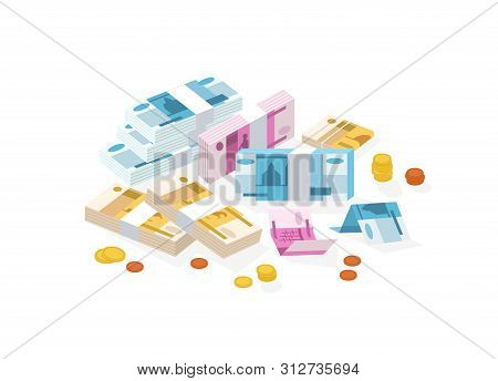 Collection Of Isometric Money Or Russian Currency. Set Of Ruble Bills Or Banknotes In Packs, Rolls A