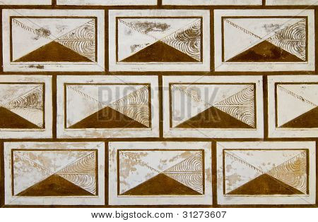 Sgraffito On Historical Wall Background