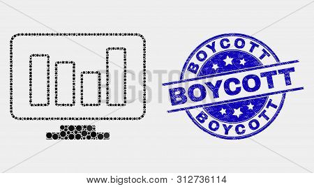 Dot Online Chart Mosaic Icon And Boycott Watermark. Blue Vector Rounded Distress Stamp With Boycott