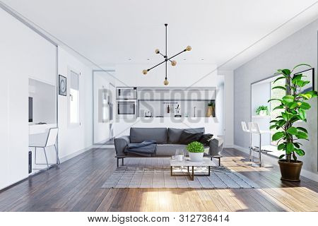 modern home  interior with table in the window. 3d rendering design concept