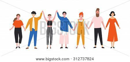 Happy Funny Young Men And Women Holding Hands. Cute Smiling People Standing In Row Together. Group O