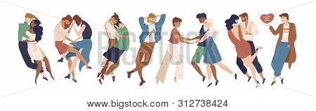 Collection Of Cute Young People Demonstrating Romantic And Sexual Attraction To Others. Heterosexual