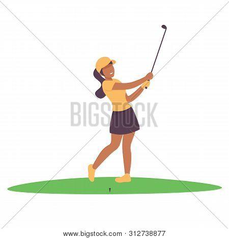 Happy Woman Plying Golf Game. Flat Vector Illustration.