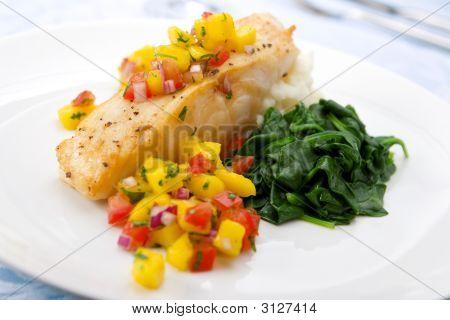 Sea Bass With Mango Salsa