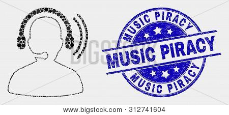 Dotted Radio Operator Headset Mosaic Icon And Music Piracy Stamp. Blue Vector Round Textured Waterma
