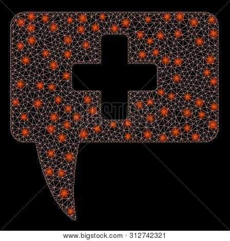 Glowing Mesh Medical Answer With Sparkle Effect. Abstract Illuminated Model Of Medical Answer Icon.