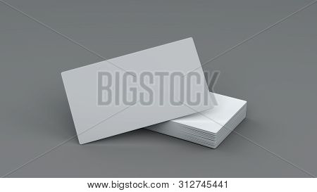 3d Illustration Horizontal Closeup Of Blank White Business Cards Stack For Mockup Or Template Design
