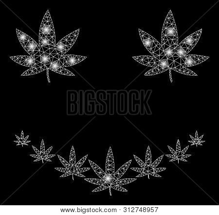 Flare Mesh Marihuana Smile With Glitter Effect. Abstract Illuminated Model Of Marihuana Smile Icon.