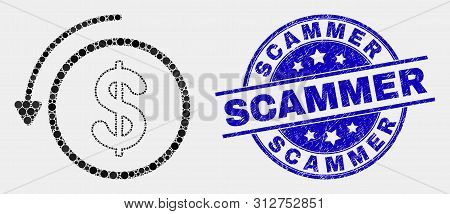 Dotted Undo Payment Mosaic Icon And Scammer Stamp. Blue Vector Rounded Textured Seal Stamp With Scam