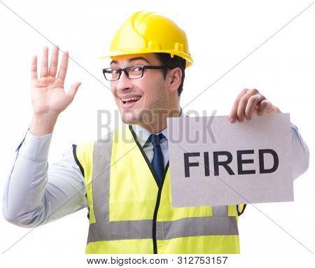 Construction supervisor in dismissal concept isolated on white b poster